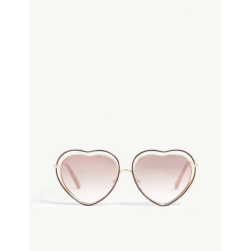 CHLOÉ | CE131S Heart-Frame Sunglasses | Goxip