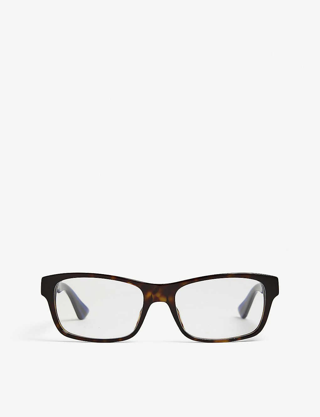 4b6dd75f301b GUCCI - GG0006O rectangle-frame Havana glasses | Selfridges.com