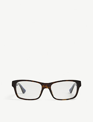 GUCCI GG0006O rectangle-frame Havana glasses
