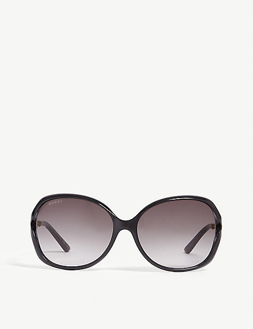 GUCCI: Gold shiny gg0291s square sunglasses