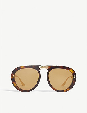 GUCCI GG0307S gold pilot sunglasses
