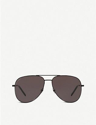 SAINT LAURENT: SL11 Classic metal and nylon aviator sunglasses