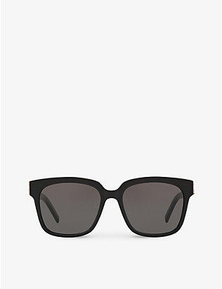 SAINT LAURENT: SL M40 shiny acetate and nylon rectangle-frame sunglasses