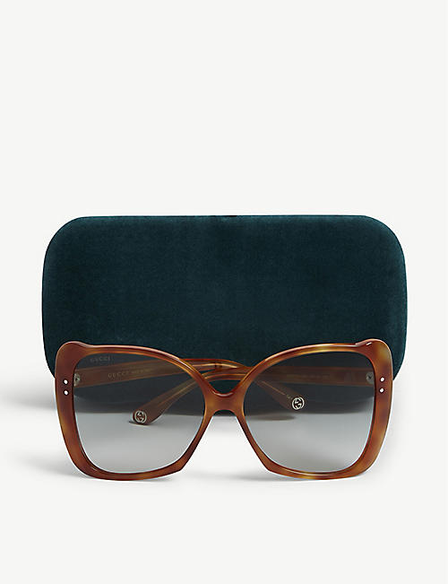 786ed4b16c GUCCI GG0471 butterfly-frame Havana sunglasses