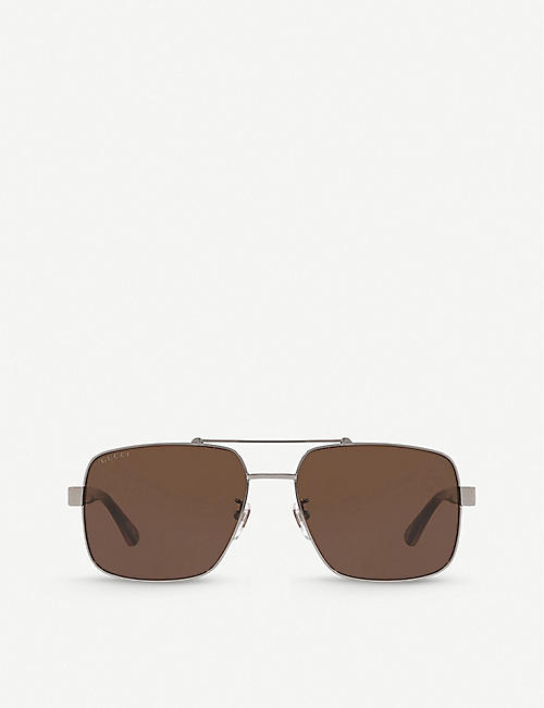 GUCCI: GG0529S metal and acetate aviator sunglasses