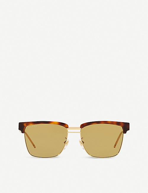 GUCCI: Logo-branded acetate rectangle sunglasses