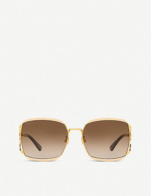 GUCCI: GG0593SK 59 square-framed metal sunglasses