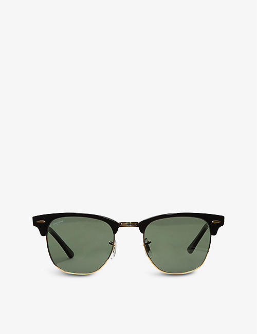 RAY-BAN: Ebony Clubmaster sunglasses with green lenses RB3016 49