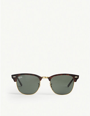 RAY-BAN: Tortoise shell clubmaster sunglasses RB3016 51