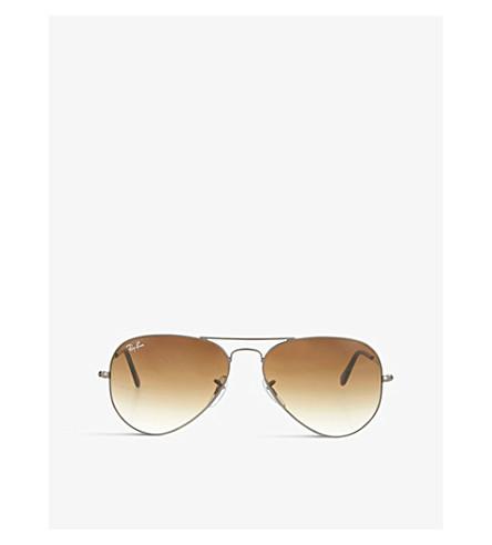 Ray Ban Sunglasses Gunmetal aviator sunglasses with gradient lenses RB3025 55