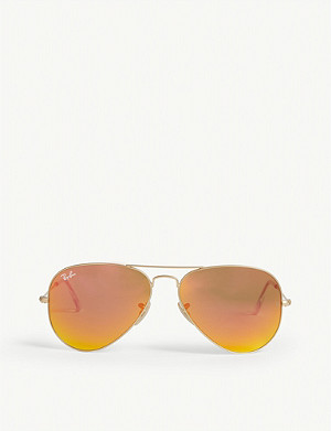 RAY-BAN Original aviator metal-frame sunglasses with orange lenses RB3025 58