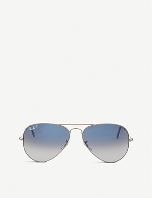 RAY-BAN Original aviator gunmetal-frame sunglasses with gradient blue lenses RB3025 58