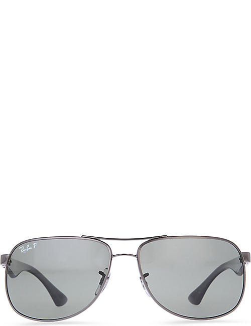 9767d05bc2 RAY-BAN Rectangular sunglasses with black arms and polarised grey lenses  RB3503