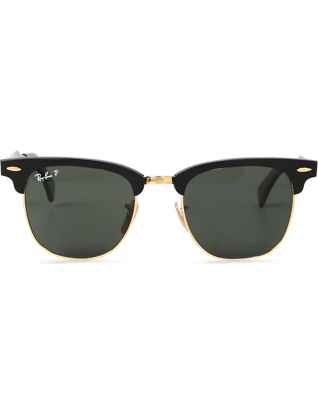 RAY-BAN: Folding clubmaster aluminium sunglasses with green lenses RB3507 51