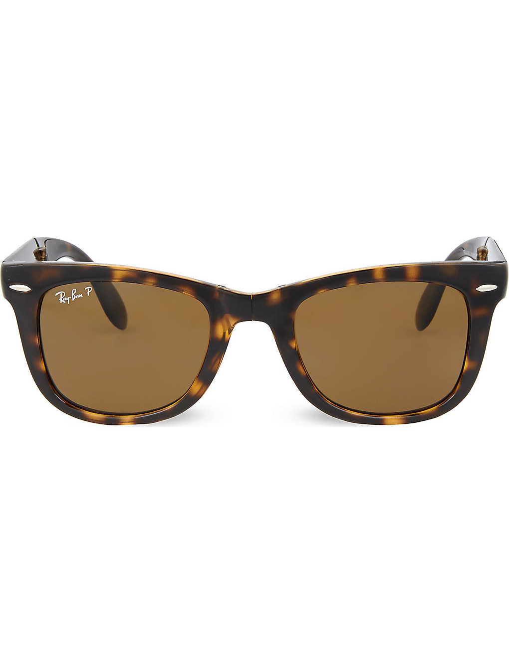 18d77d5399 RAY-BAN Light Havana folding tortoiseshell wayfarer sunglasses with brown  polarised lenses RB4105 50