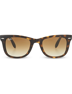 RAY-BAN Light Havana folding tortoiseshell wayfarer sunglasses with brown polarised lenses RB4105 51