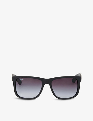 RAY-BAN Black rubberised square sunglasses RB4165 54