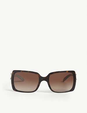 TIFFANY & CO Havana and blue rectangle sunglasses