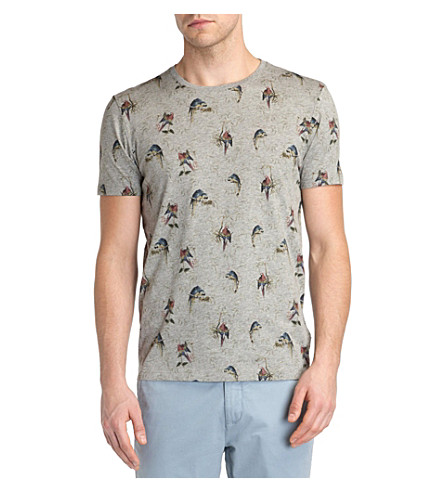 8e83492f2bd49e TED BAKER Lazoo parrot print T-shirt (Grey+marl