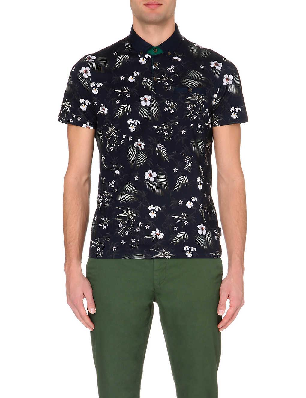 4b7714317c49e TED BAKER - Tropical-print polo shirt | Selfridges.com