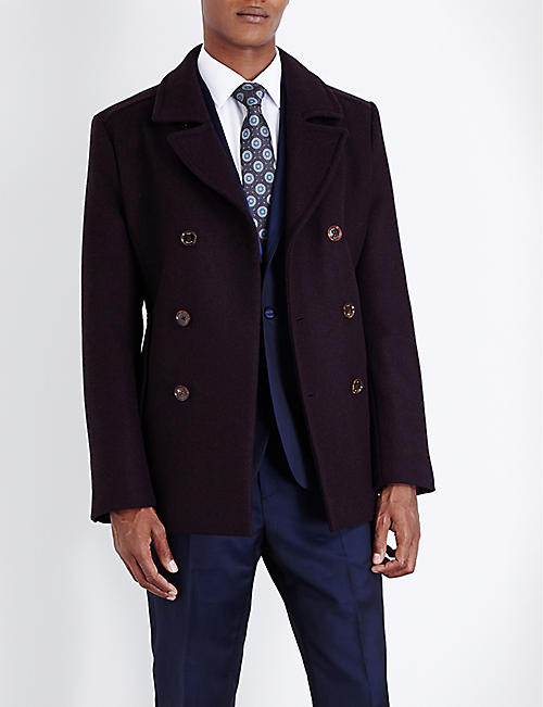 TED BAKER: Double-breasted wool peacoat