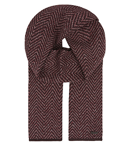 b1538fb36 TED BAKER Hide herringbone cotton scarf (Dark+red