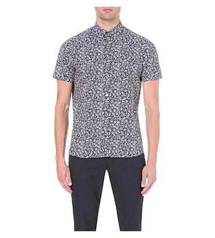 68ff0e82 TED BAKER - Floral-print slim-fit short-sleeved shirt   Selfridges.com
