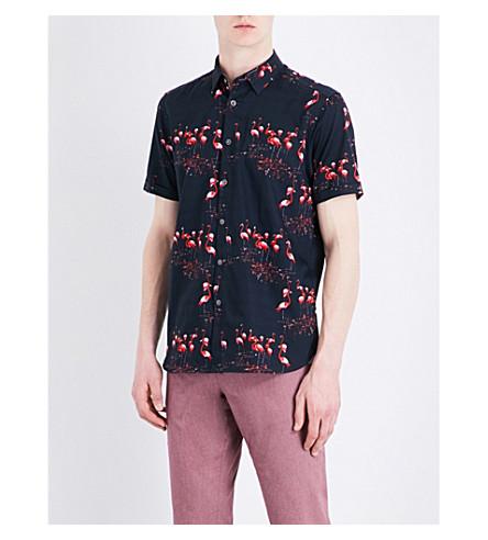 d1025fa7c3ca TED BAKER Flaming flamingo-print cotton shirt (Navy