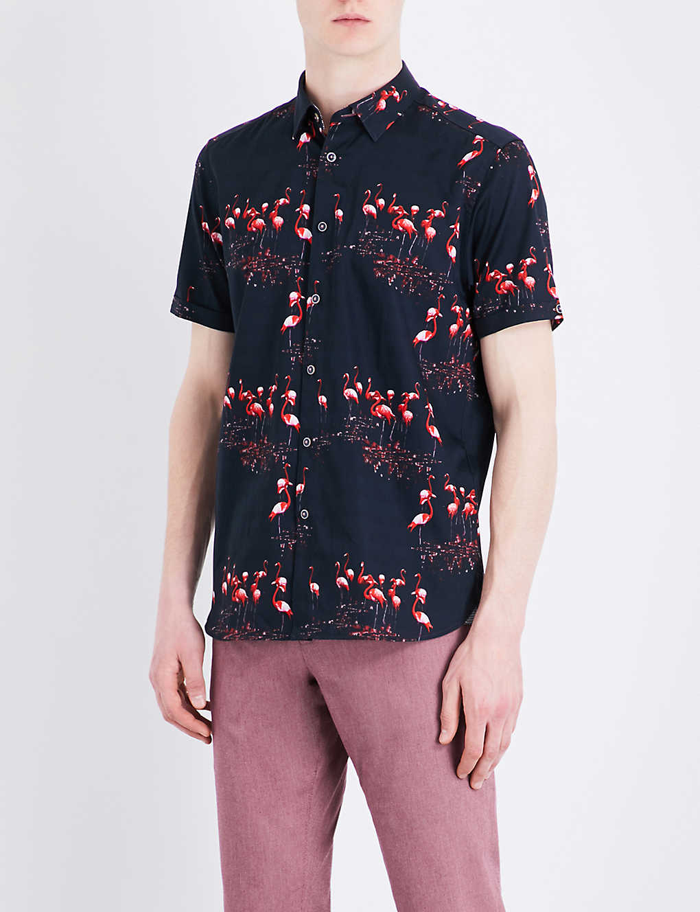 acb1c7d91 TED BAKER - Flaming flamingo-print cotton shirt