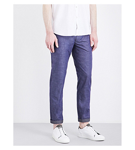 e11256d96 TED BAKER Shiresey slim-fit tapered stretch-cotton pants (Dark+blue