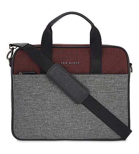 6eb89b3fc657d2 TED BAKER Piranha nylon document bag (Red