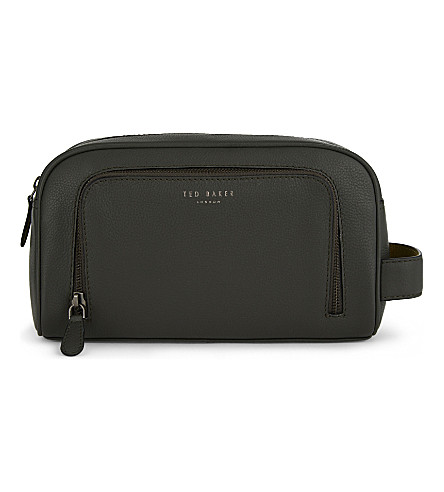 1ab8771da81f ... TED BAKER Onyahed leather wash bag (Green. PreviousNext