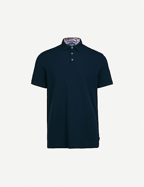 TED BAKER Basketweave cotton-knitted polo shirt dbbf39a1015
