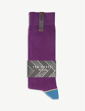 TED BAKER Jack contrasting trim cotton-blend socks