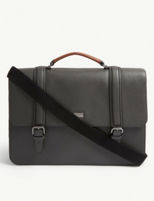 TED BAKER Machu cross-grain leather briefcase