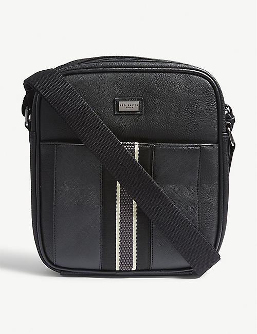 b5453f14a1940b TED BAKER Striped webbing faux-leather flight bag