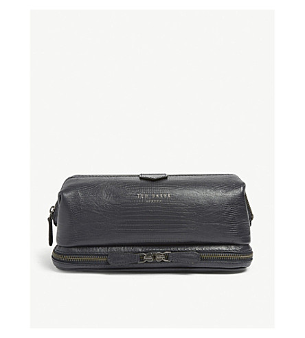 cb9eff4051 ... crocodile-embossed leather wash bag (Navy. PreviousNext