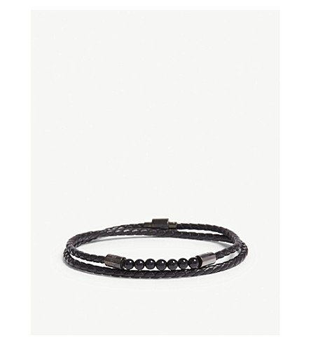 664d83597 ... TED BAKER Lizaa beaded leather double-wrap bracelet (Black. PreviousNext