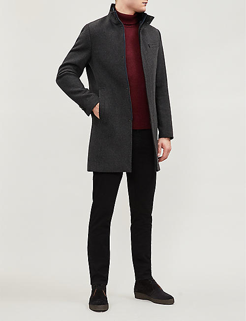 TED BAKER Marven funnel neck wool-blend coat