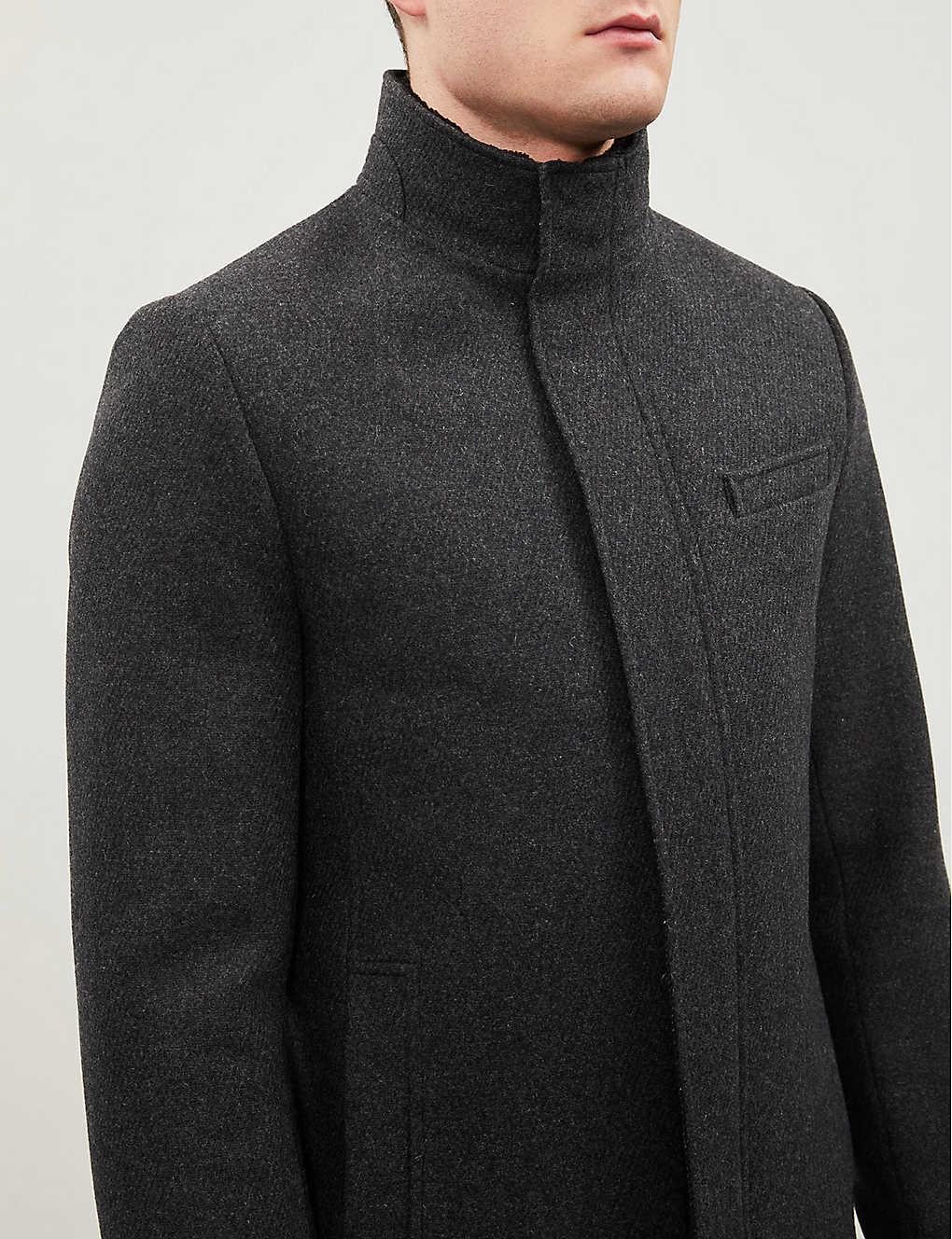 39063a693b17 ... Marven funnel neck wool-blend coat - Charcoal ...