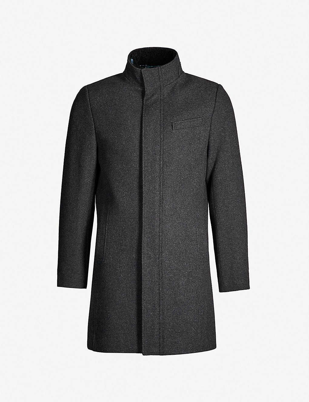 9f4938136dbc TED BAKER - Marven funnel neck wool-blend coat