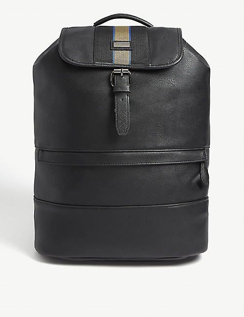 a6bc727b416 Black Watch tartan backpack. £169.00. TED BAKER Eeep webbing leather  backpack