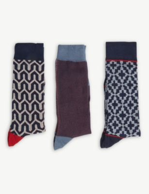 TED BAKER Geometric set of three socks gift set
