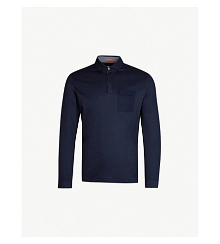 aff57998 TED BAKER Python long-sleeved cotton-jersey polo shirt (Navy