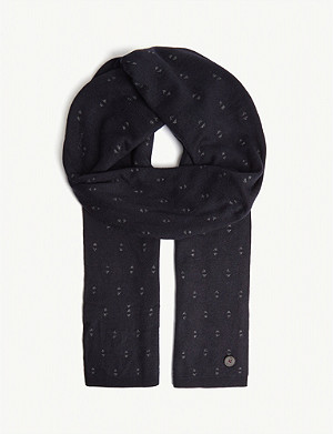 TED BAKER May geometric print knitted scarf