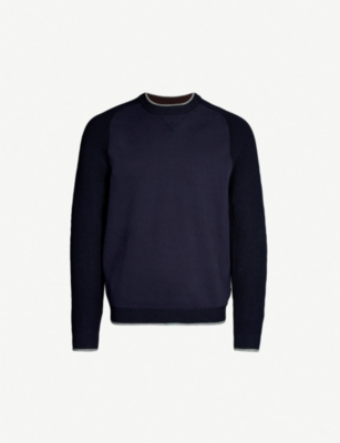 TED BAKER Contrast-sleeves cotton-blend jumper