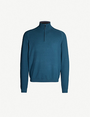 TED BAKER Justrun funnel-neck cotton blend sweatshirt