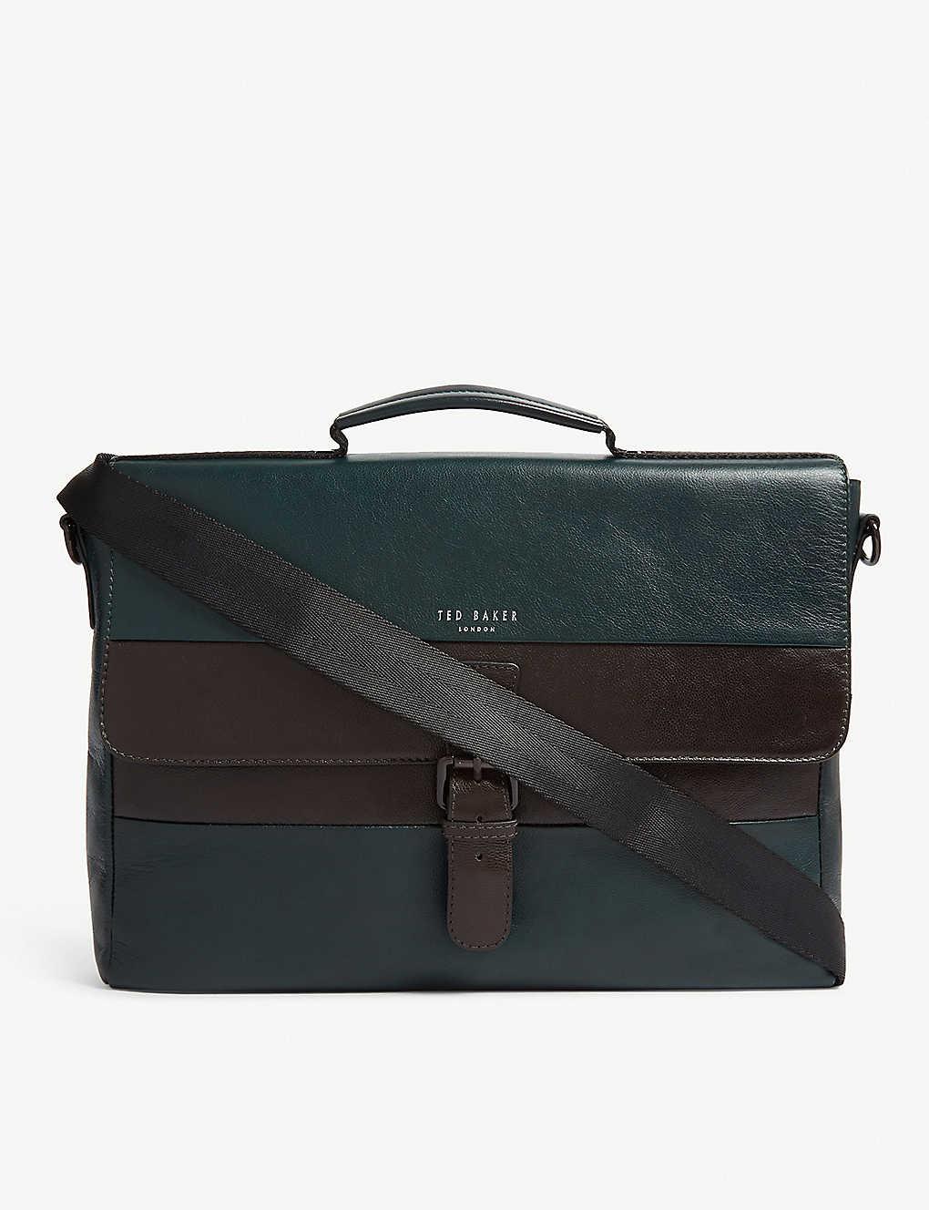 ef82a6eb7e6 TED BAKER - Bocelli striped leather messenger bag | Selfridges.com