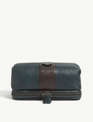 TED BAKER Eyez striped grained leather wash bag