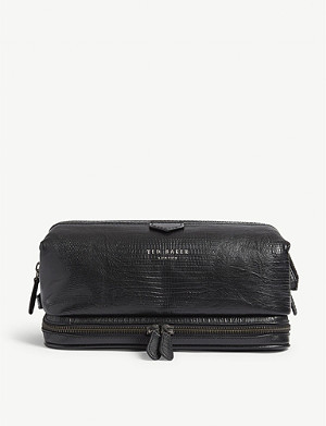 5c8a6079d TED BAKER - Chocks crocodile-embossed leather wash bag